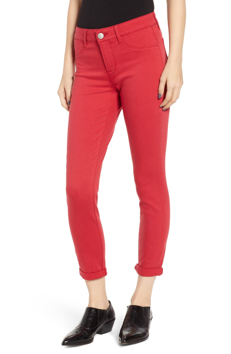 PROSPERITY DENIM Cuffed Skinny Jeans, Main, color, RED