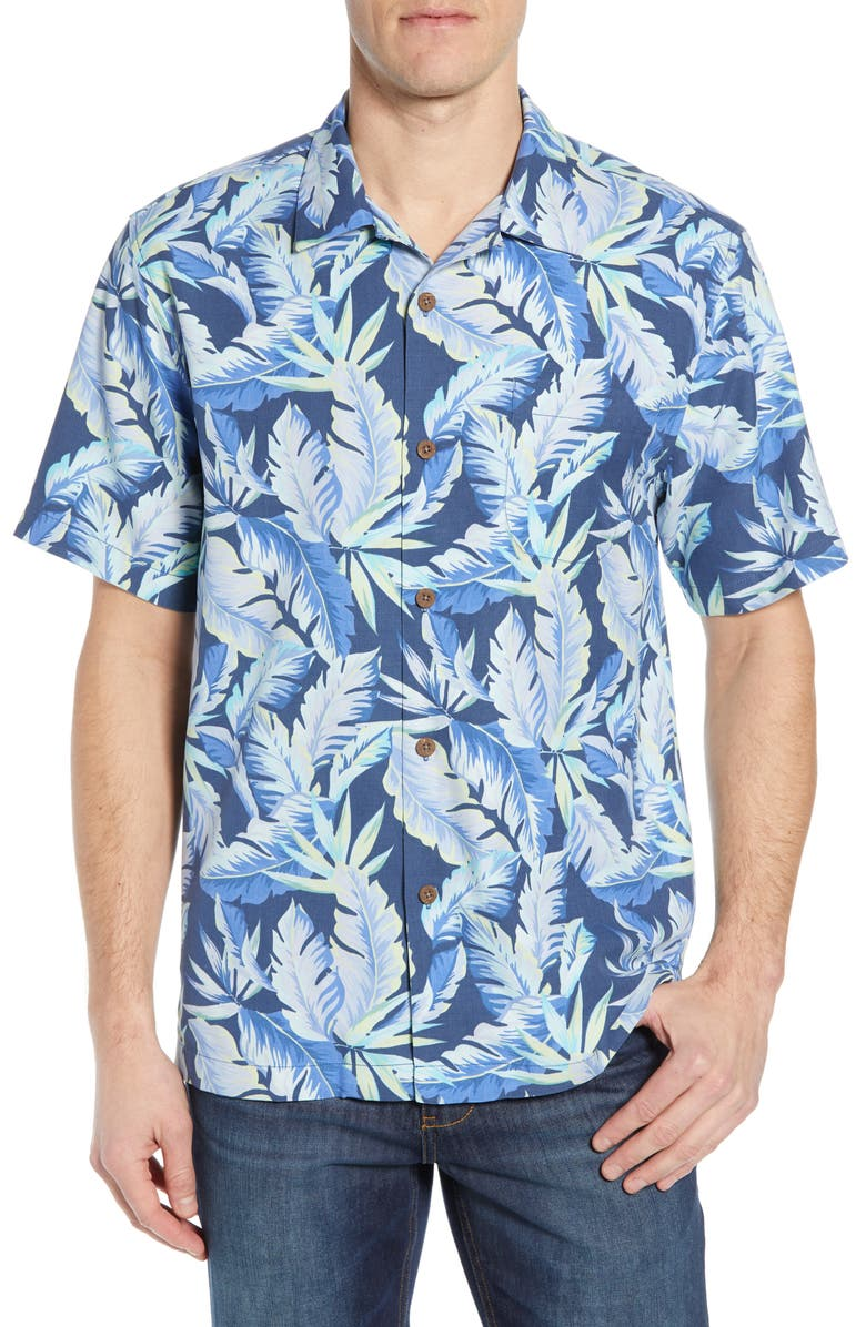 TOMMY BAHAMA Break Wave Fronds Silk Blend Shirt, Main, color, OCEAN DEEP
