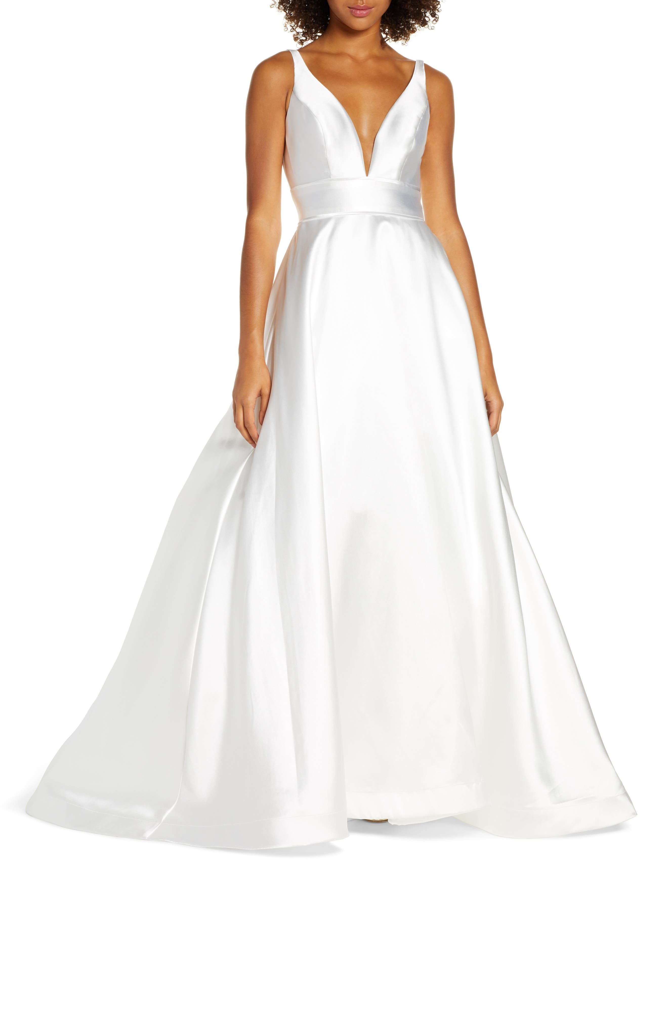 ,                             Plunging Sweetheart Neck Ballgown,                             Main thumbnail 1, color,                             WHITE