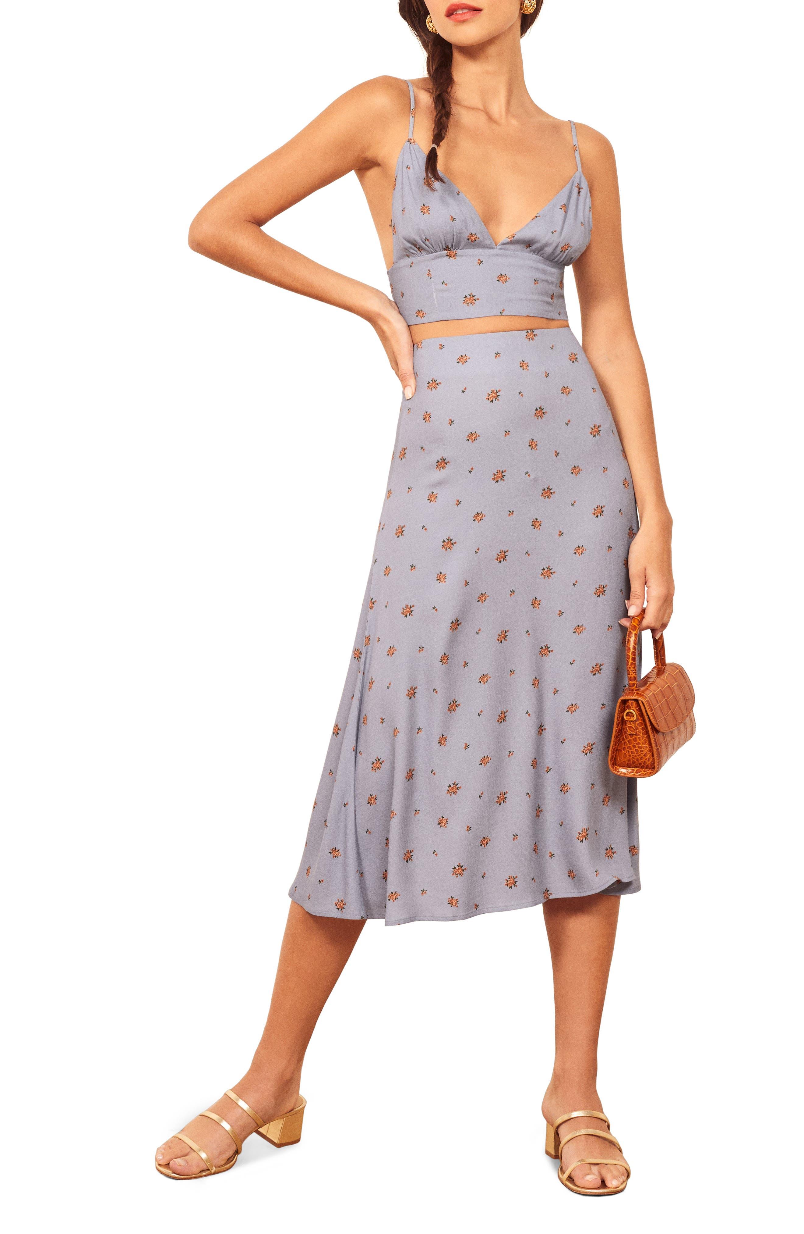 Reformation Catania Two-Piece Dress, Blue