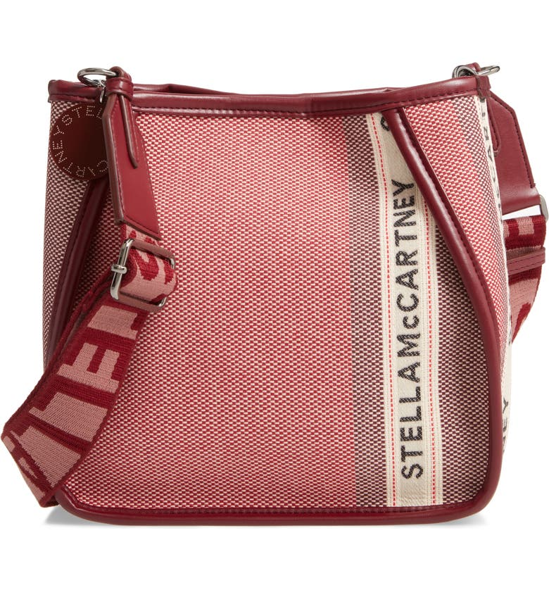 STELLA MCCARTNEY ECO Patchwork Logo Canvas Crossbody Bag, Main, color, ROSE/ BURGUNDY