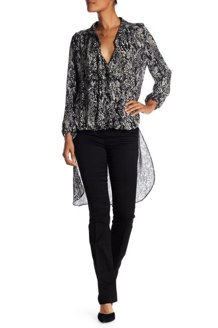 Image of Vertigo High/Low Printed Silk Chiffon Blouse