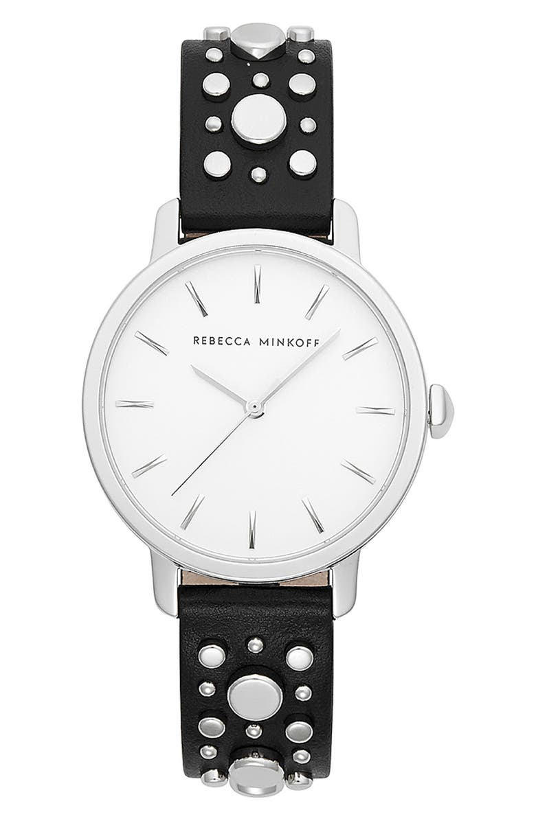 REBECCA MINKOFF BFFL Studded Leather Strap Watch, 36mm, Main, color, 001