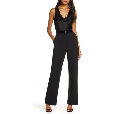 Eliza J Cowl Neck Crepe Jumpsuit, Black