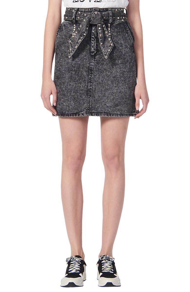 SANDRO Fredie Rhinestone Belt Denim Miniskirt, Main, color, BLACK