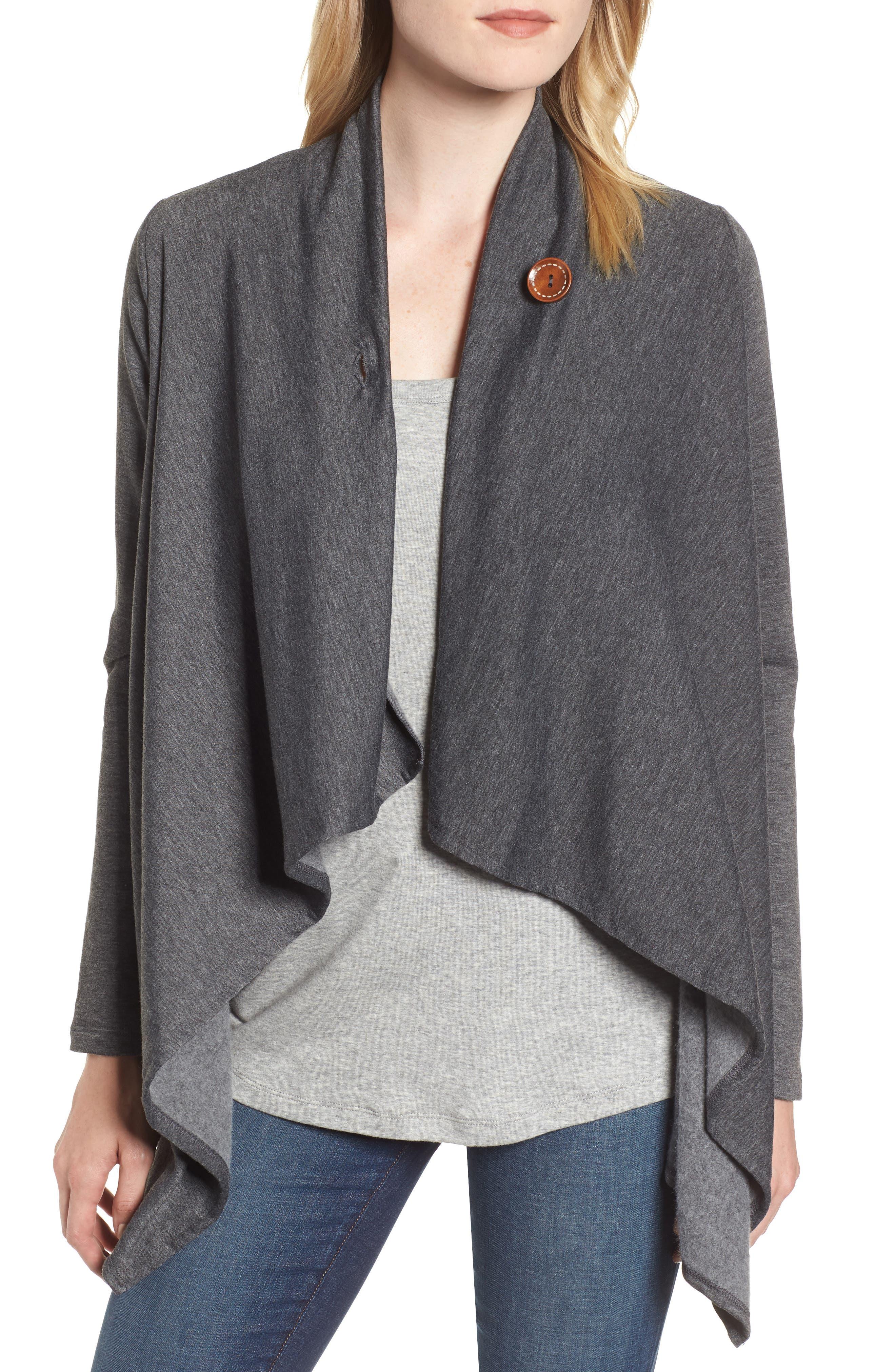 ,                             One-Button Fleece Wrap Cardigan,                             Alternate thumbnail 11, color,                             091
