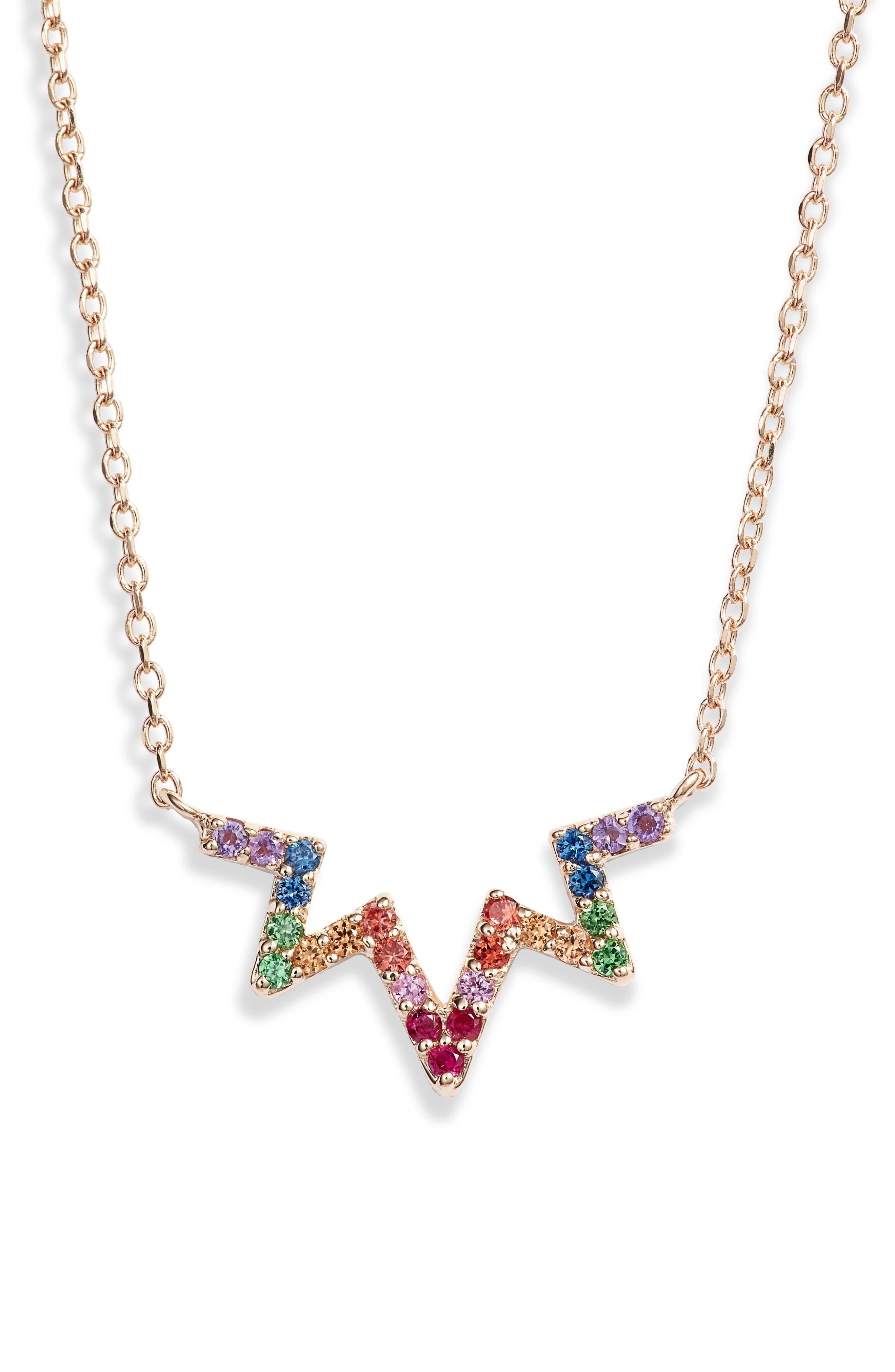 Rainbow Zigzag Pendant Necklace