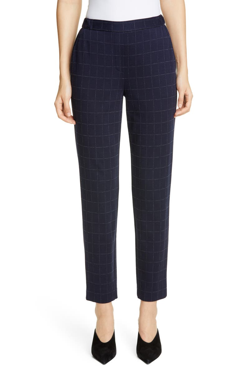 ST. JOHN COLLECTION Windowpane Double Face Jersey Pants, Main, color, NAVY MULTI