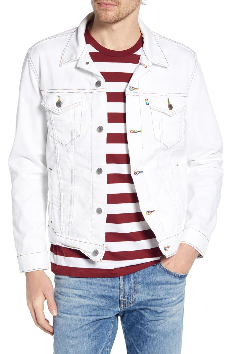 LEVI'S<SUP>®</SUP> Rainbow Embroidered Trucker Jacket, Main, color, 100