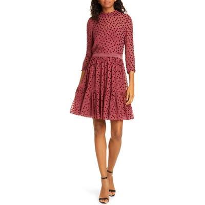 Rebecca Taylor Velvet Dot Ruffle Hem Dress, Burgundy