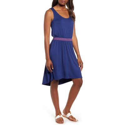 Petite Gibson X The Motherchic Palms Smocked Waist Easy Dress, Blue