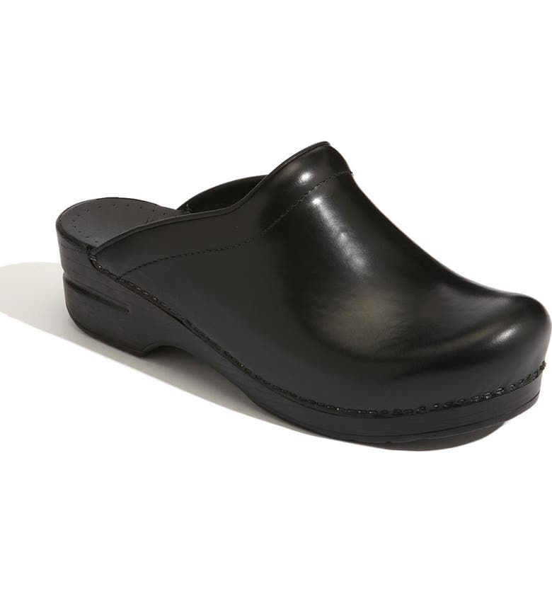 DANSKO 'Sonja' Leather Clog, Main, color, BLACK CABRIO