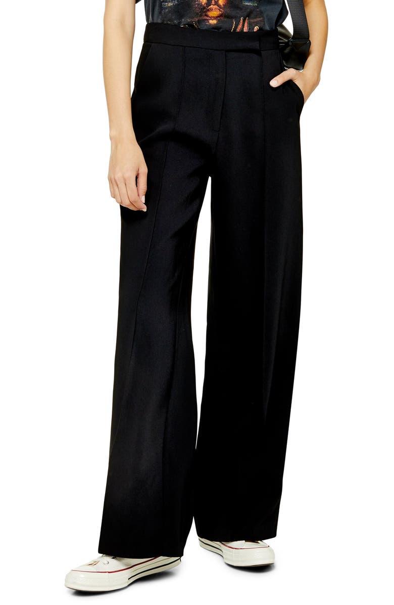 TOPSHOP Pintuck Pleat Wide Leg Trousers, Main, color, BLACK