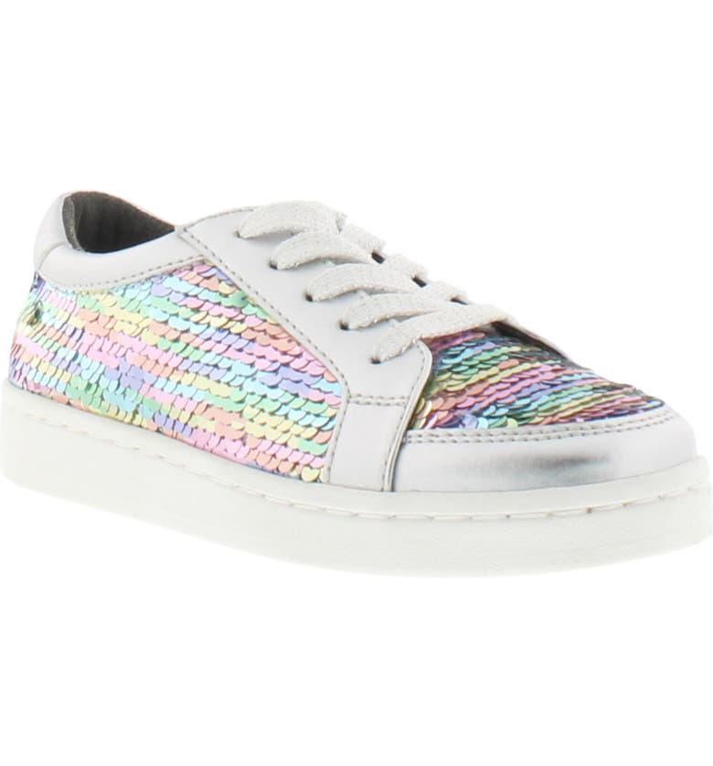 REACTION KENNETH COLE Luna Rosie Rainbow Sequin Sneaker, Main, color, SILVER RAINBOW