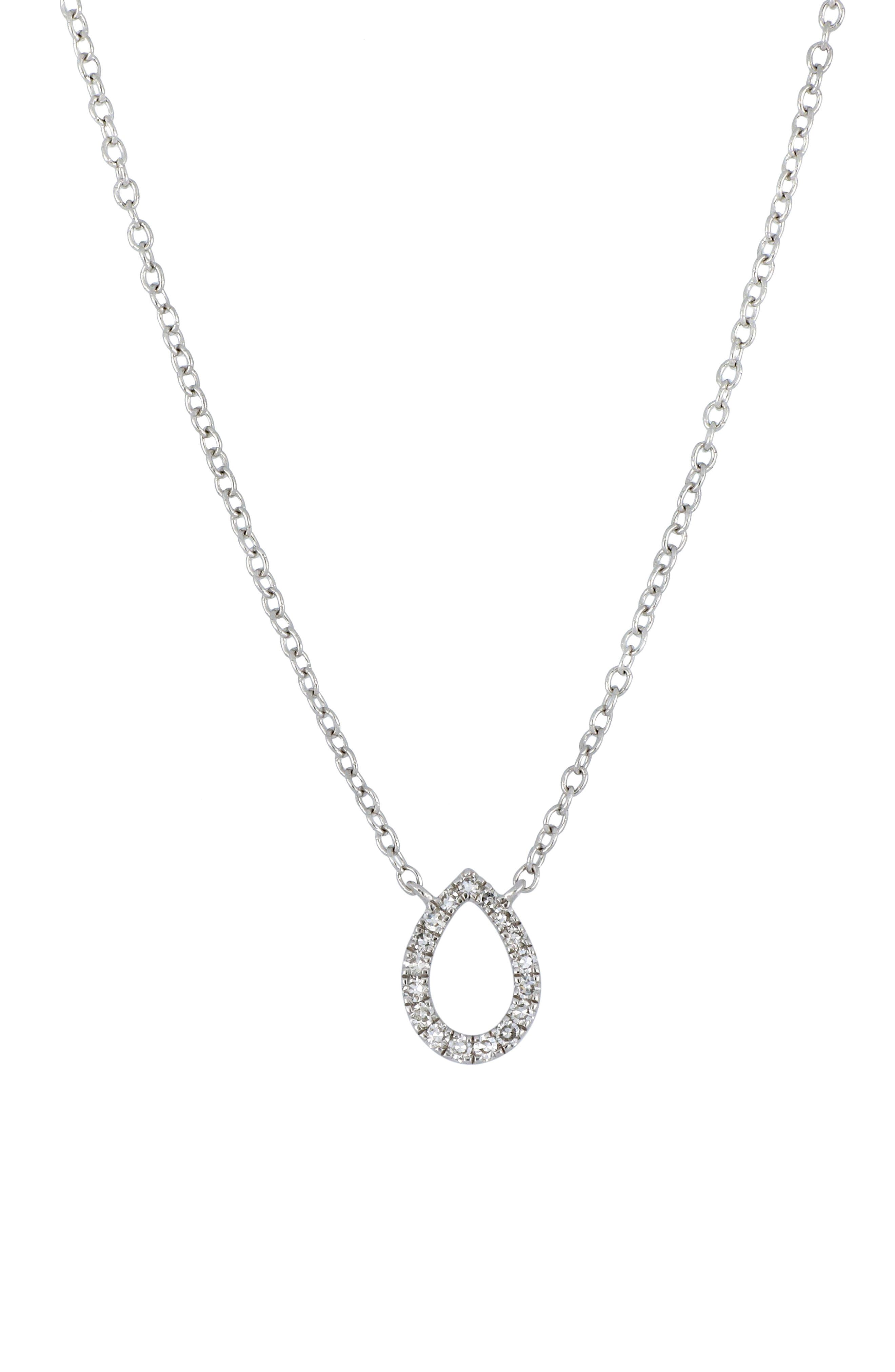Image of Carriere Sterling Silver Pave Diamond Open Pear Pendant Necklace - 0.06 ctw