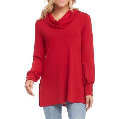 Karen Kane Cowl Neck Side Slit Turtleneck Sweater, Red