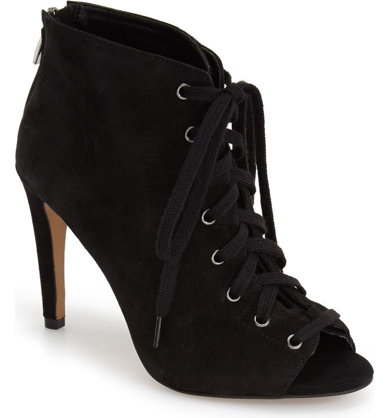 FRENCH CONNECTION 'Quillan' Lace-Up Peep Toe Bootie, Main, color, 001