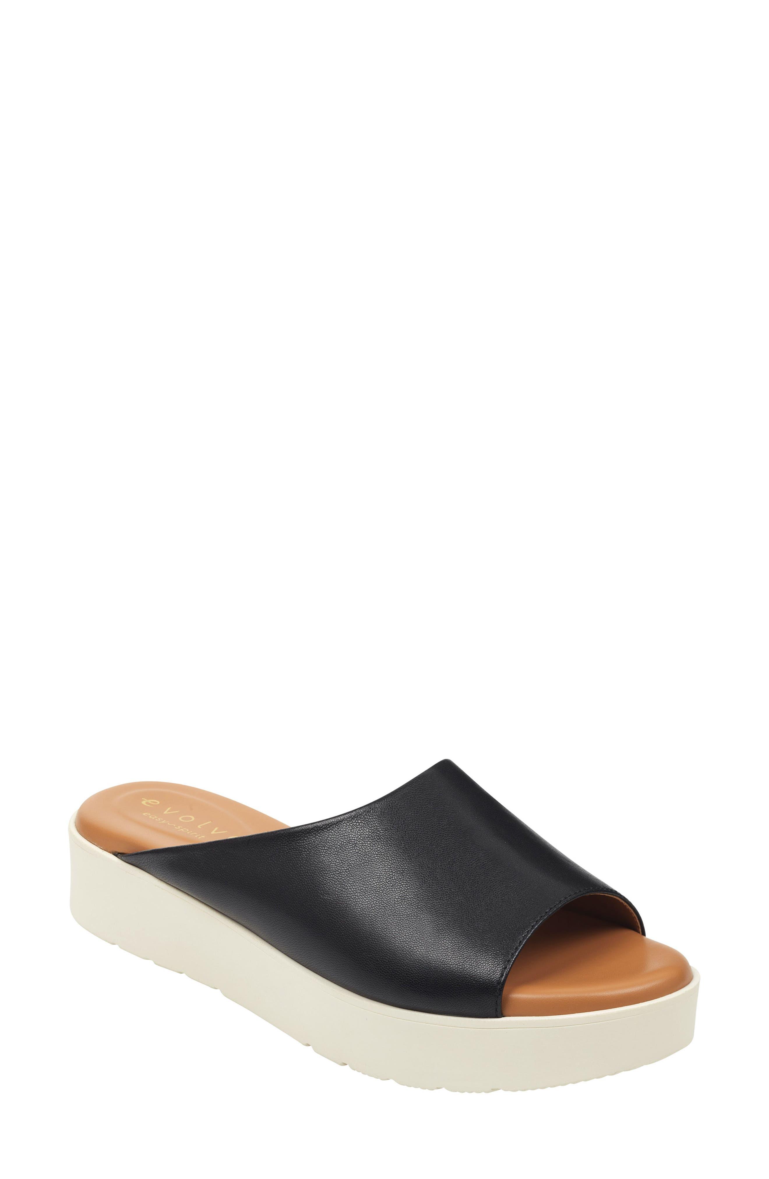 Flora Slide Sandal, Main, color, BLACK LEATHER