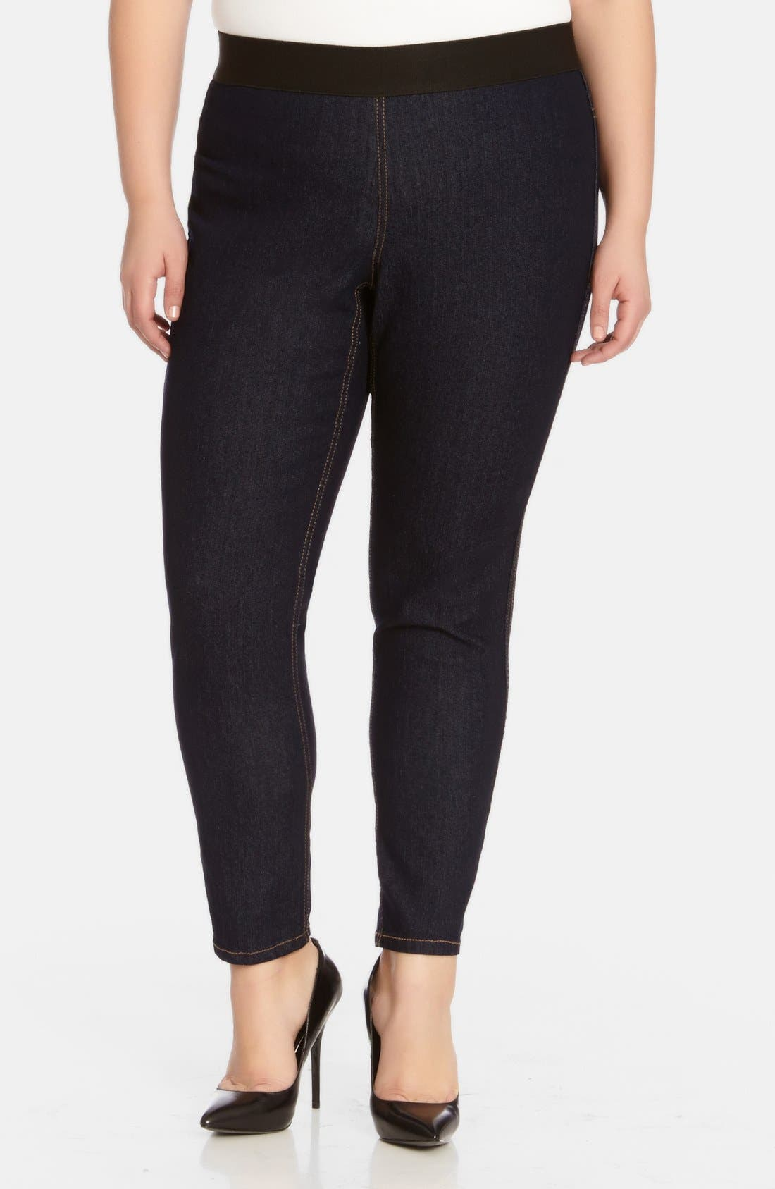 Plus Size Karen Kane Dark Rinse Denim Leggings