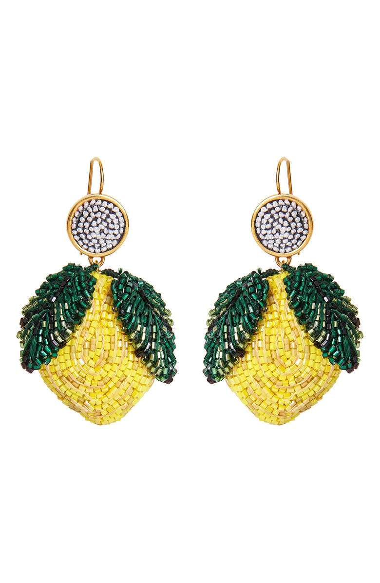 MIGNONNE GAVIGAN Lemon Lux Drop Earrings, Main, color, YELLOW