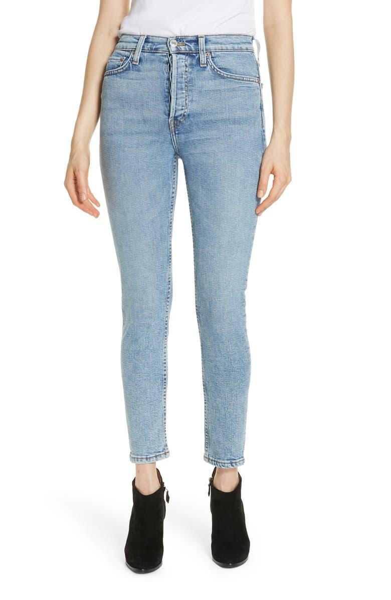 RE/DONE Originals Comfort Stretch High Waist Ankle Crop Jeans, Main, color, 400