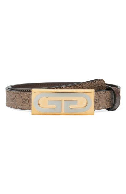 Gucci Mini Gg Supreme Canvas Plaque Belt In Beige Ebony/ New Acero