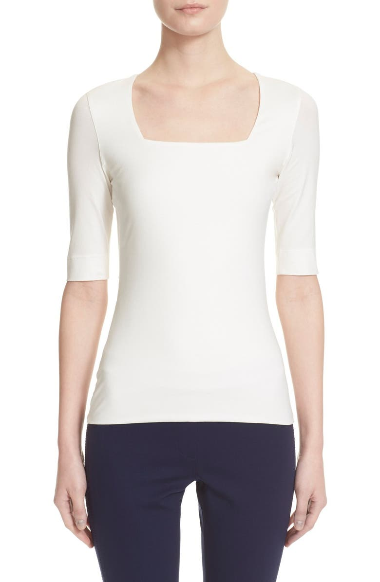 AKRIS PUNTO Square Neck Jersey Tee, Main, color, OFF WHITE