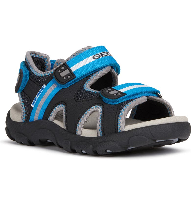 GEOX Strada 19 Sandal, Main, color, BLACK/ LIGHT BLUE