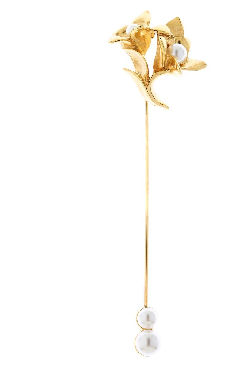 OSCAR DE LA RENTA Imitation Pearl Flower Brooch, Main, color, GOLD
