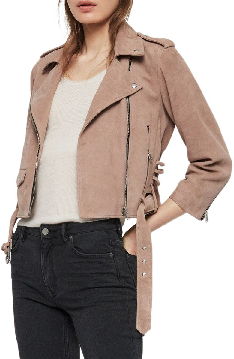ALLSAINTS Layla Crop Suede Biker Jacket, Main, color, 200