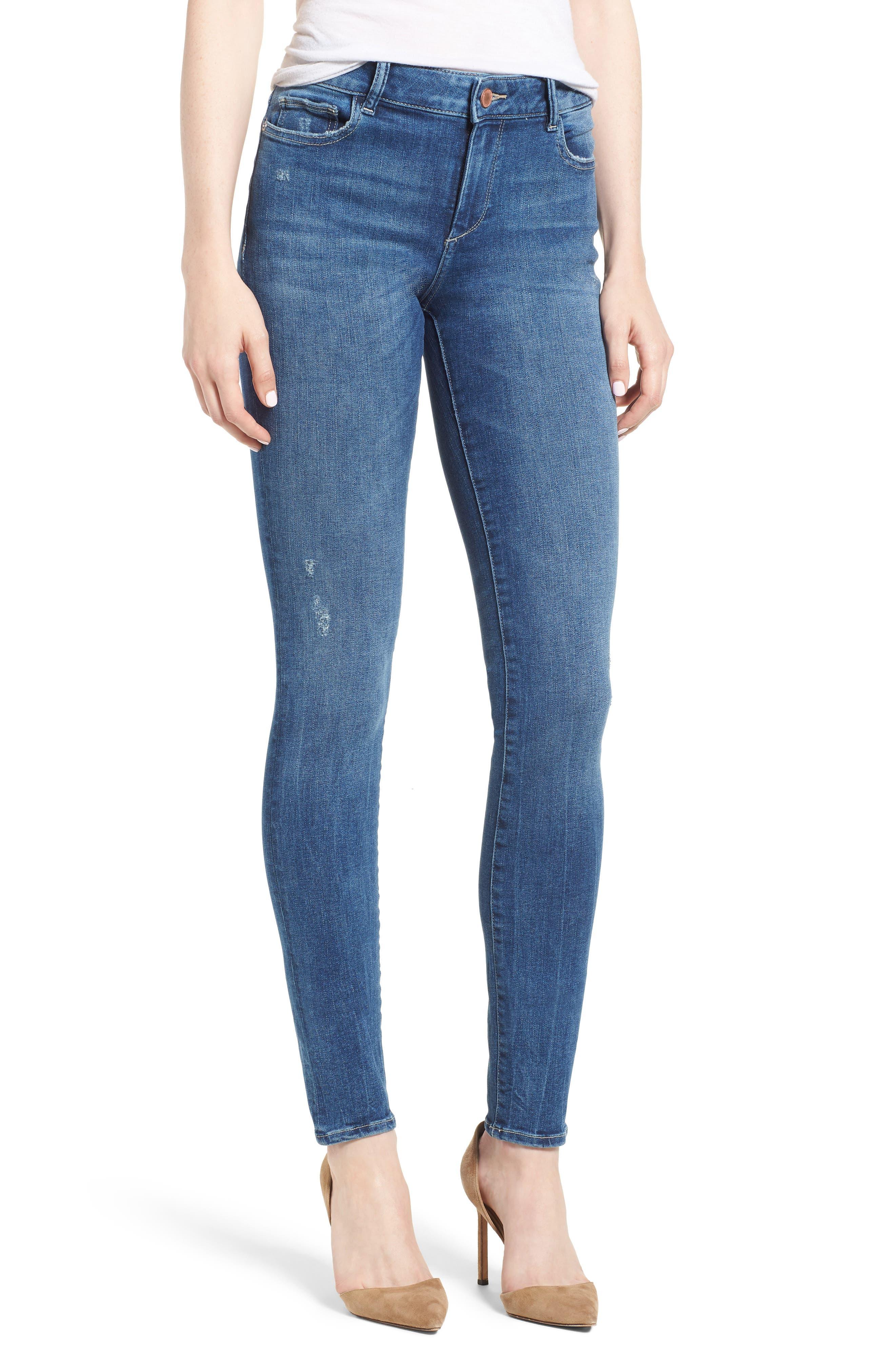 DL1961 Womens Danny Mid Rise Full Length Skinny Jeans