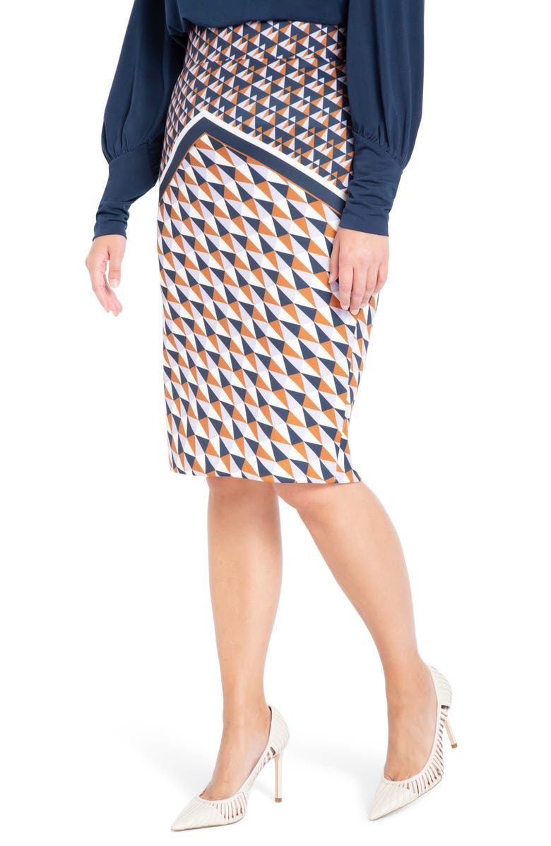 ELOQUII Print Neoprene Pencil Skirt, Main, color, ALL IN THE ANGLES