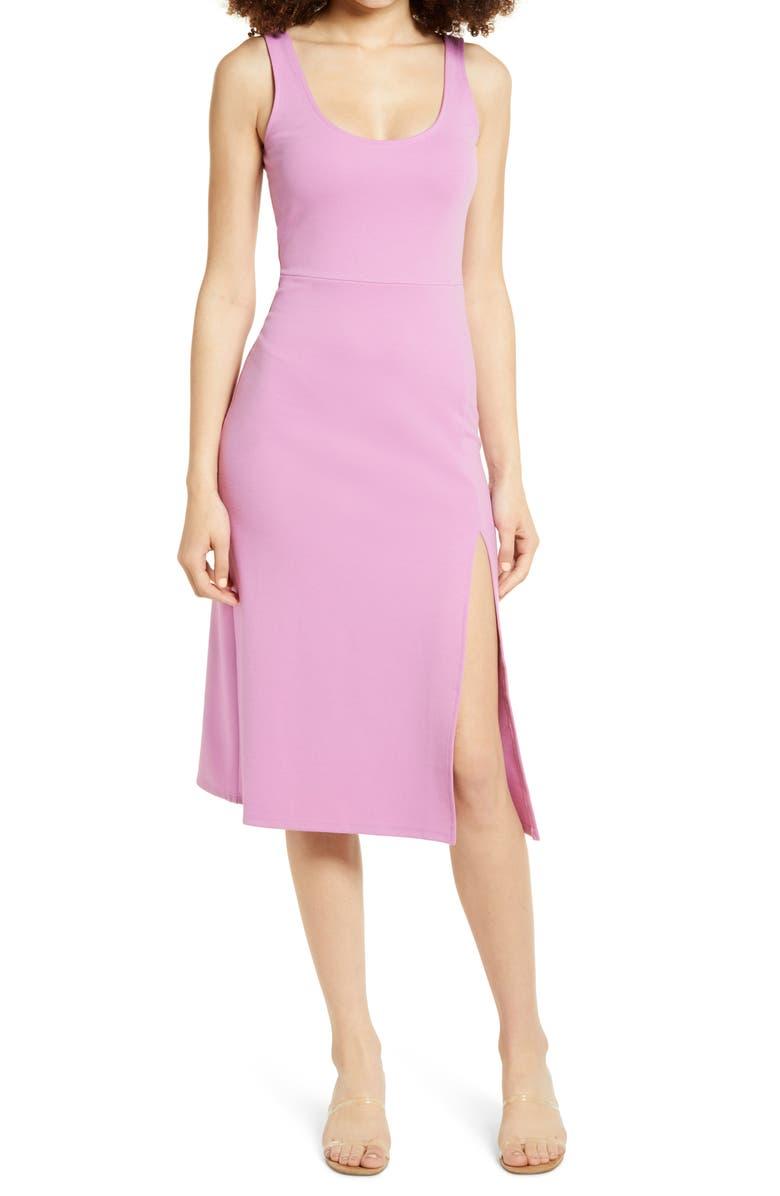 LEITH Scoop Neck Midi Dress, Main, color, PURPLE LILY