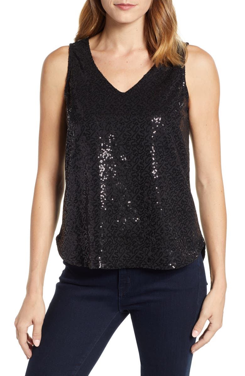 GIBSON x Glam Squad Cassie V-Neck Sequin Tank, Main, color, 001