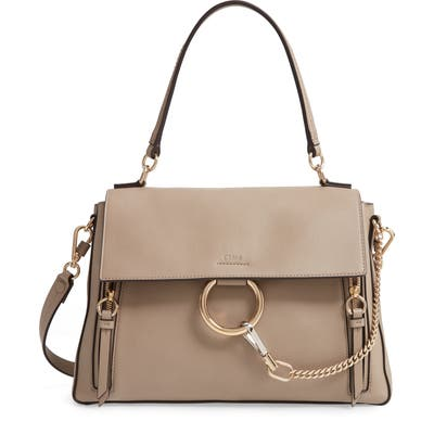 Chloe Medium Faye Leather Shoulder Bag - Grey