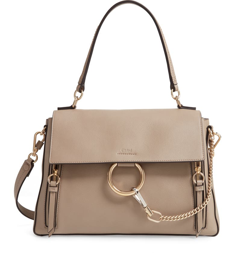 CHLOÉ Medium Faye Leather Shoulder Bag, Main, color, MOTTY GREY
