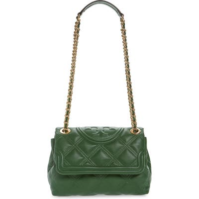 Tory Burch Small Fleming Distressed Convertible Shoulder Bag - Green