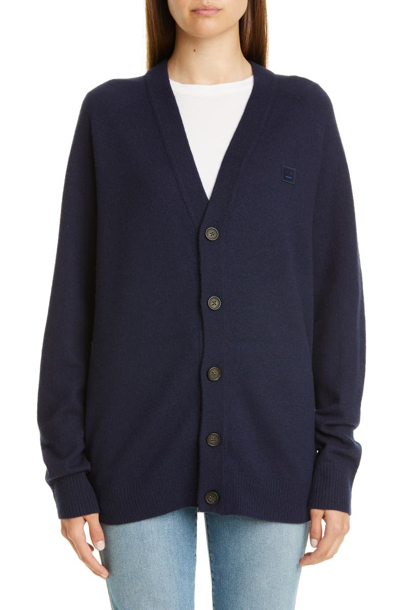 ACNE STUDIOS Neve Wool Cardigan, Main, color, NAVY BLUE