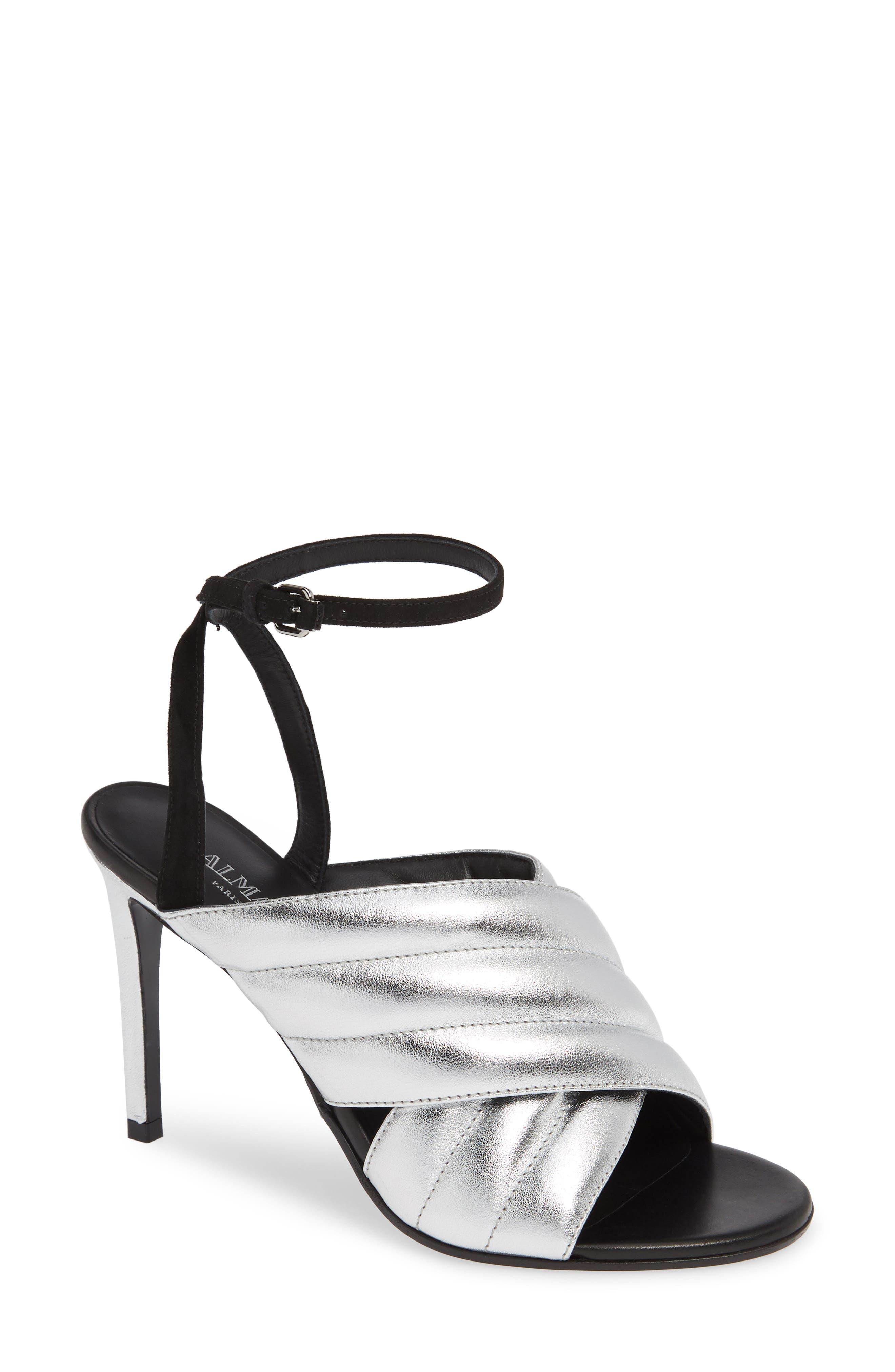 Balmain Janel Quilted Sandal, Metallic