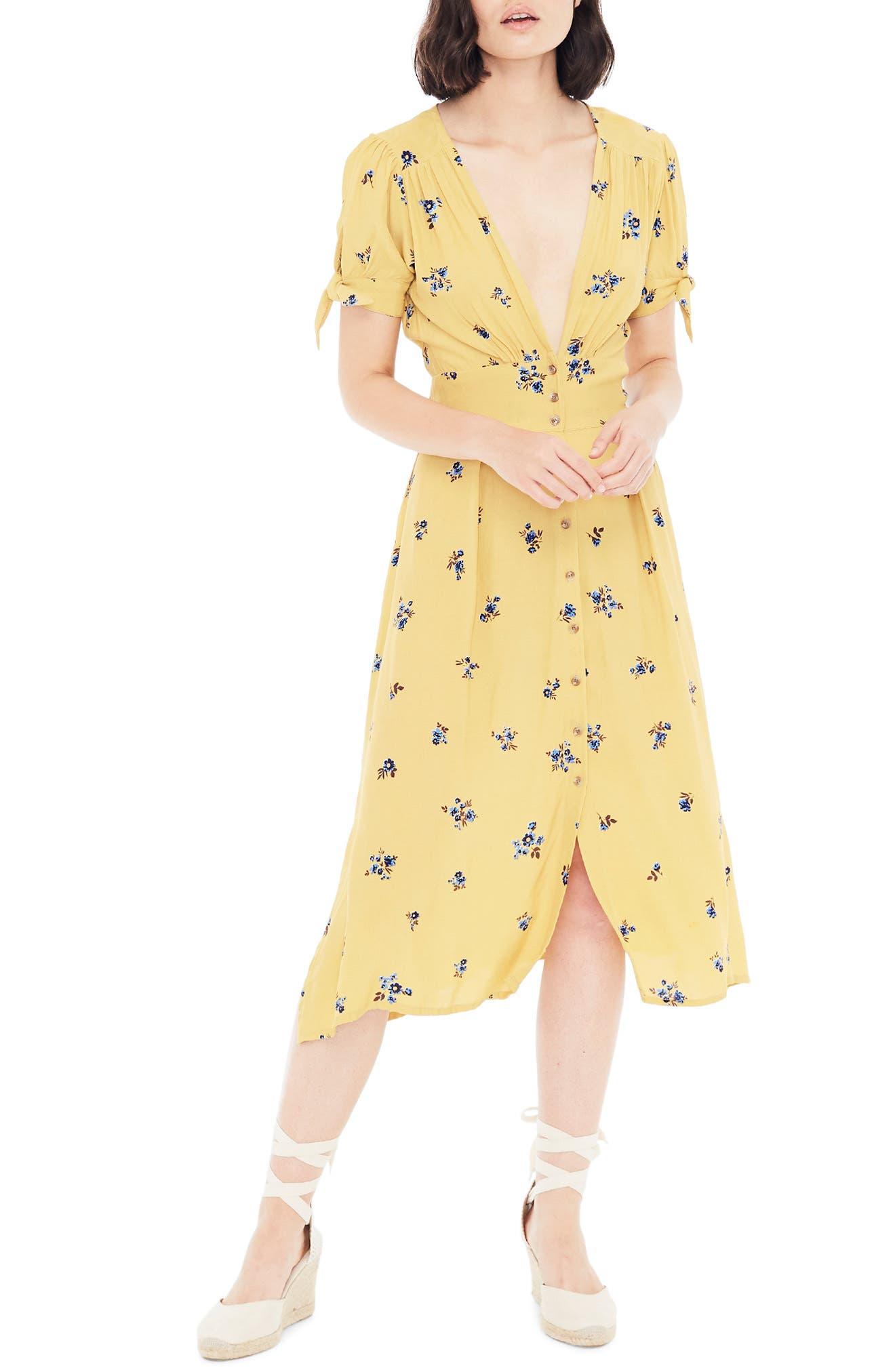 Faithfull The Brand Billie Floral Tie Sleeve Midi Dress, Yellow