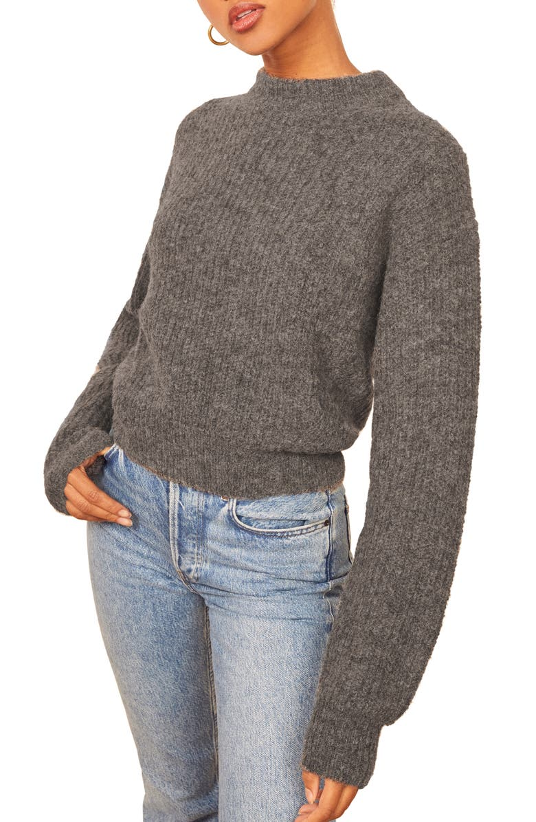 REFORMATION Finn Sweater, Main, color, DARK GREY