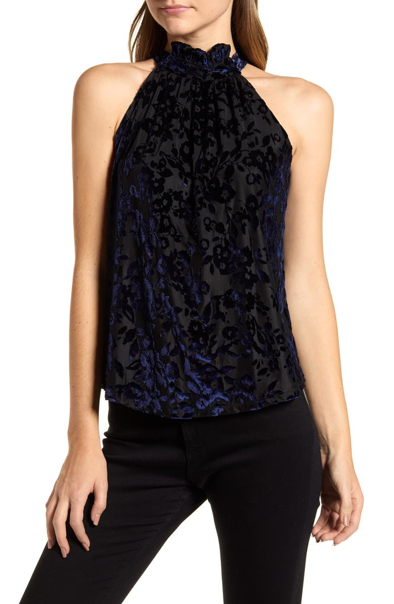 GIBSON x Glam The Motherchic Date Night Floral Flocked Velvet Halter Top, Main, color, SAPPHIRE BLUE