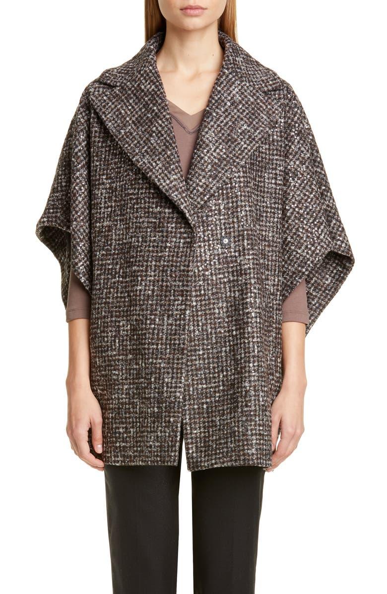 FABIANA FILIPPI Sequin Wool & Alpaca Blend Cape, Main, color, MULTI