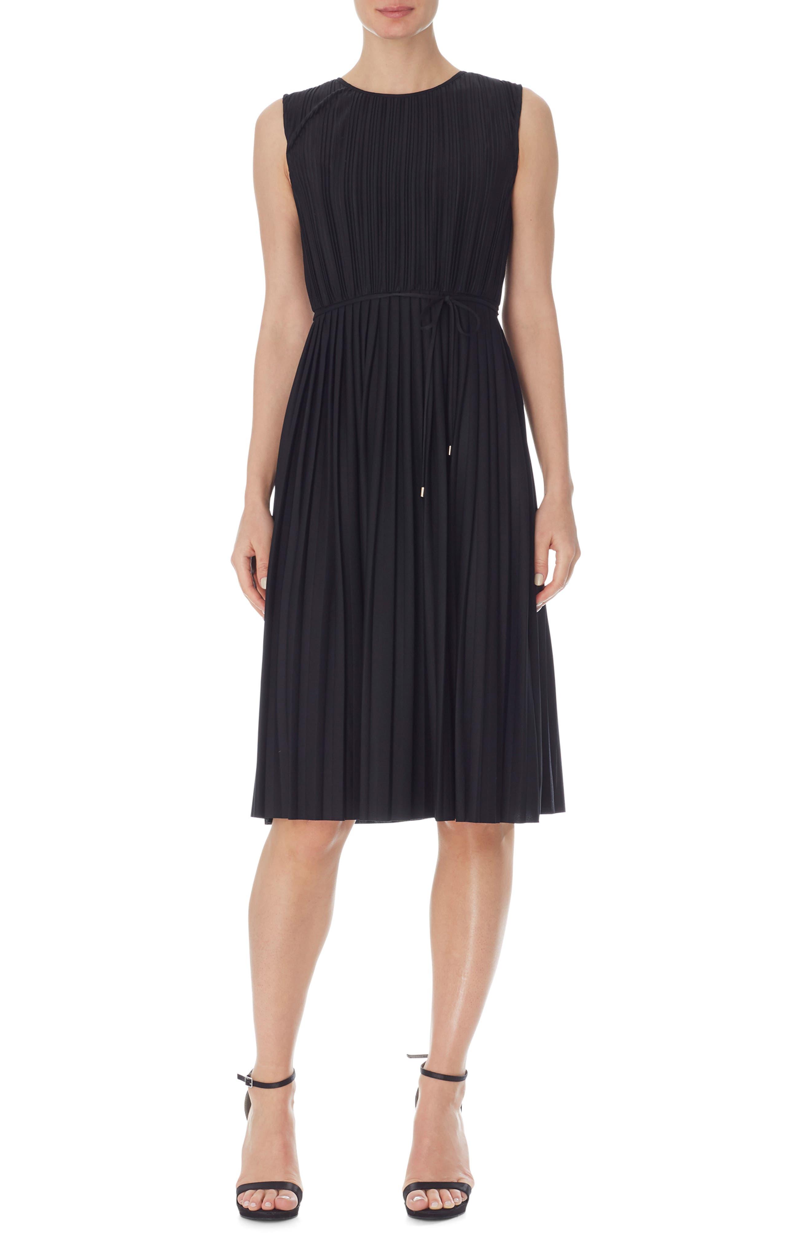 Pleated Tie Waist Sleeveless Dress