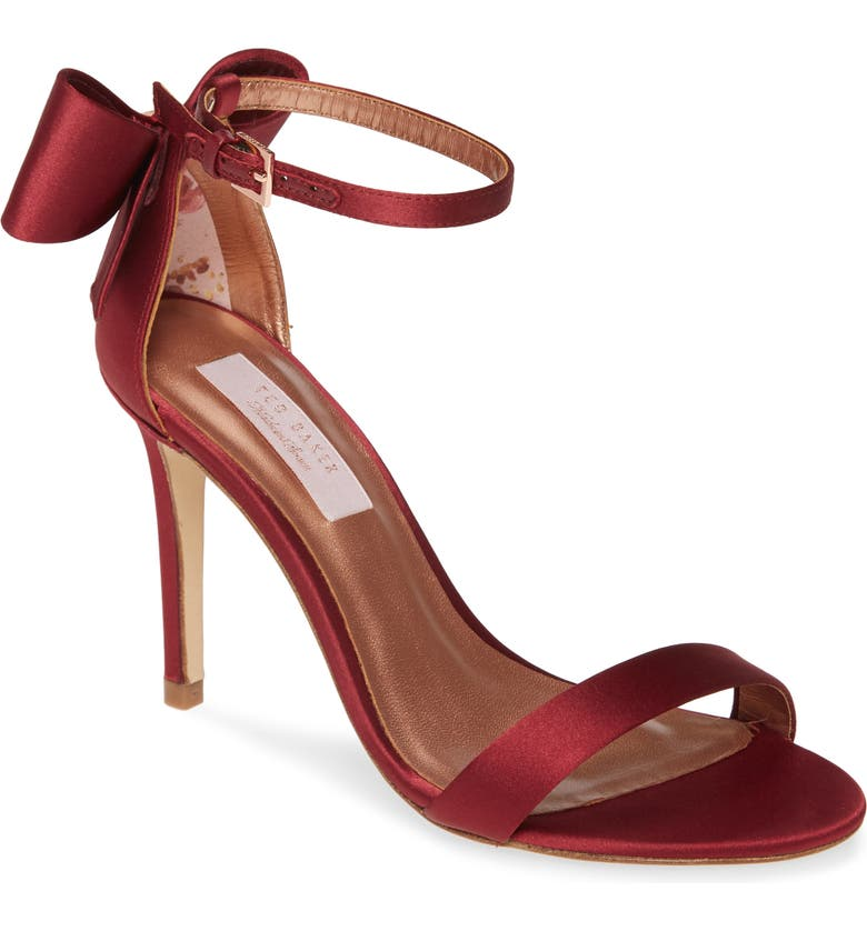 TED BAKER LONDON Bowtifl Sandal, Main, color, BERRY SATIN