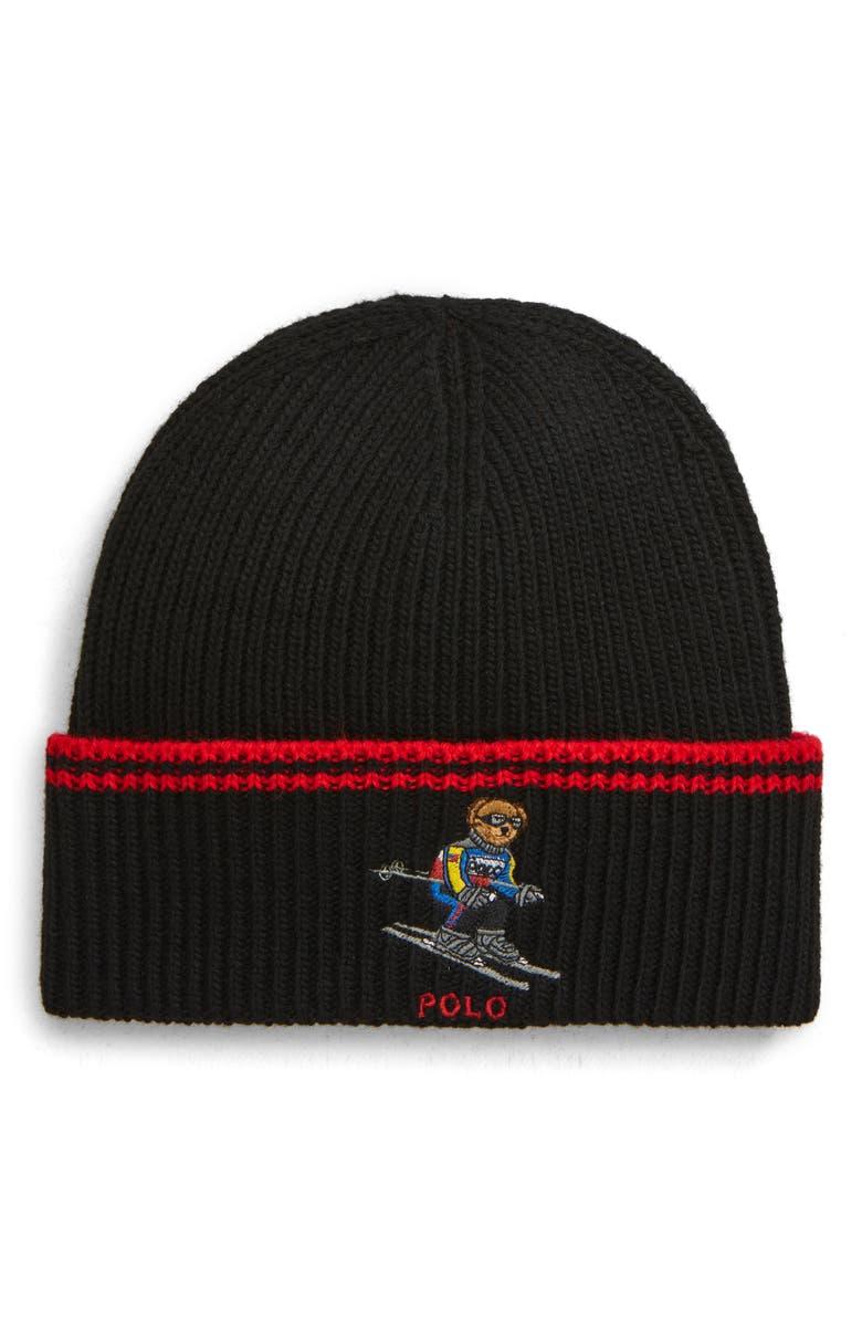 POLO RALPH LAUREN Extreme Bear Ski Hat, Main, color, 001