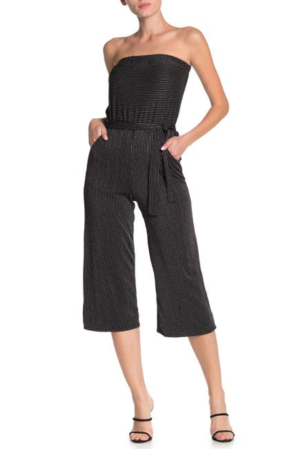 Image of Velvet Torch Striped Strapless Culotte Jumpsuit
