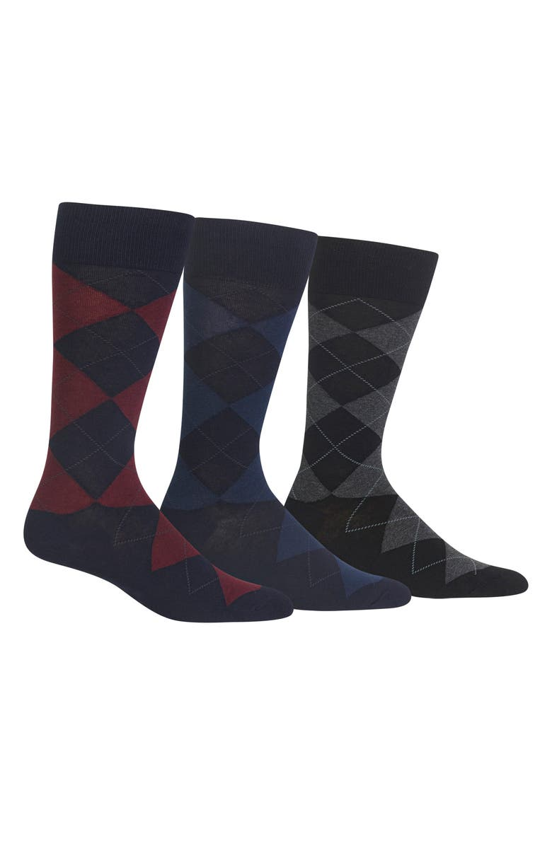 POLO RALPH LAUREN 3-Pack Argyle Socks, Main, color, NAVY BURG/ NAVY BLUE/ BLACK