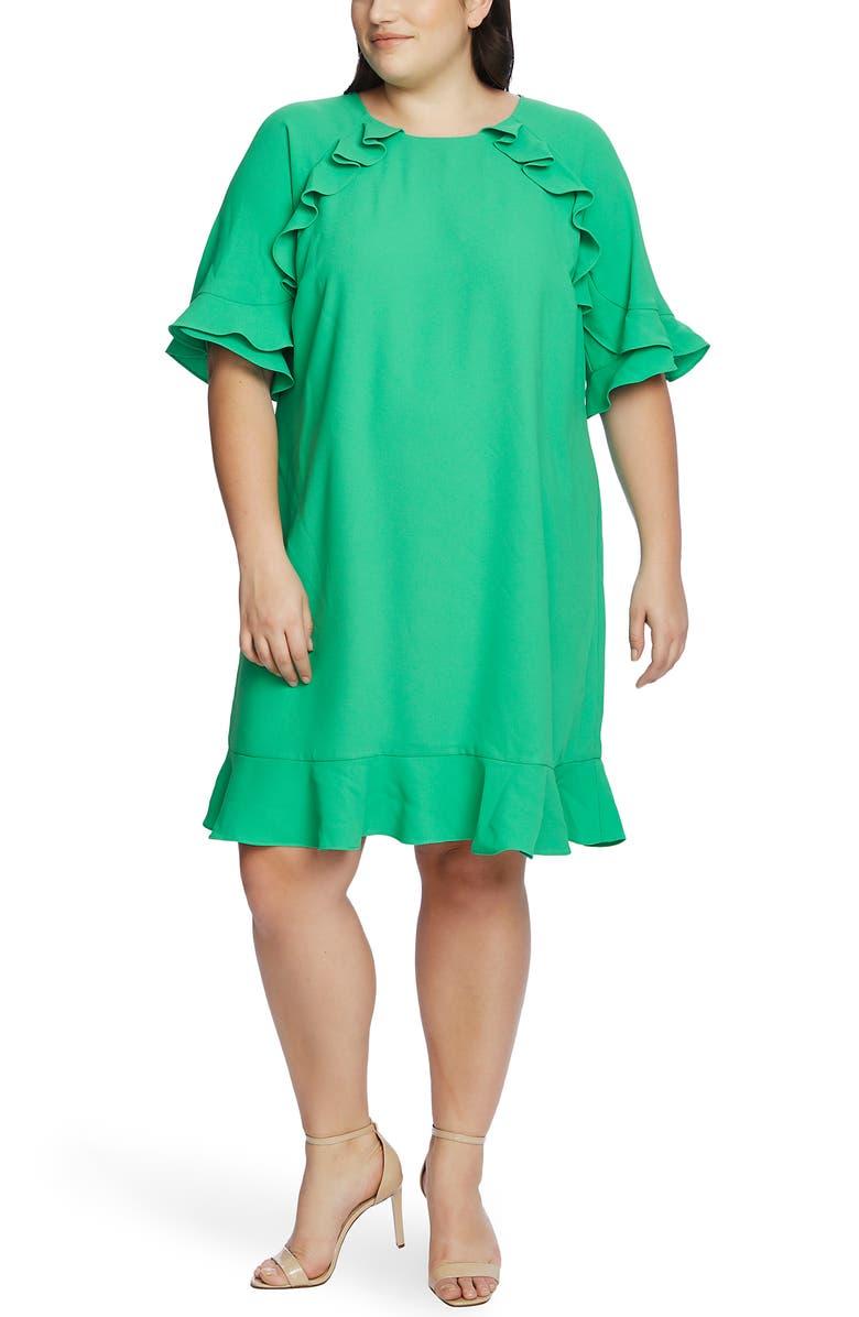 CECE Ruffled Crepe Shift Dress, Main, color, JASMINE GREEN