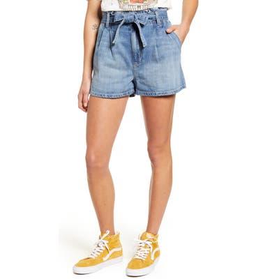 Sts Blue Paperbag Waist Pleated Denim Shorts, 7 - Blue